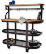 Enclume Baker's Sideboard, Base Only with Maple Butcher Block Top Shelf, Hammered Steel ()