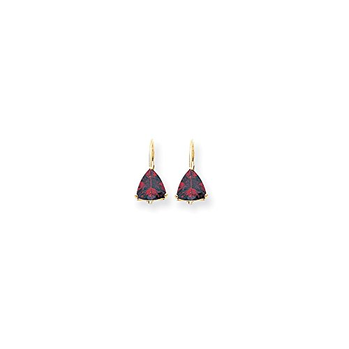 14k Yellow Gold 0.6IN Long 7mm Trillion Garnet leverback Earrings (Solid Earrings Trillion)