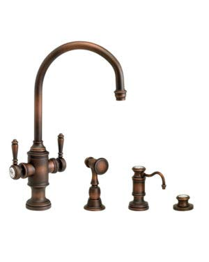 (Waterstone 8030-3-CHB Hampton Two Handle Kitchen Faucet 3pc. Suite Chocolate Bronze)