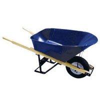 Bon 11 300 Premium Contractor Grade Steel Single Wheel Wheelbarrow with Wood Hande and Knobby Tire, 6 Cubic (Union Tools Wheelbarrow)