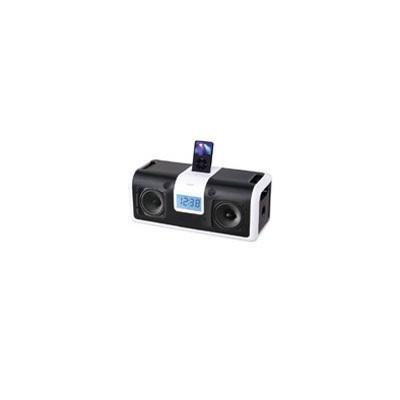 - Homedics DP-900 Portable DocknParty iPod Docking Station with FM Clock Radio Black/White
