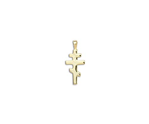 PicturesOnGold.com Solid 14k Yellow Gold Small Orthodox Crucifix Cross Pendant - 1/2 Inch x 3/4 ()
