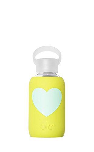 bkr - BEST Original Glass Water Bottle - Premium Quality - Soft Silicone Protective Sleeve - BPA Free - Dishwasher Safe (8oz/ 250ml)-Gigi Heart - Opaque Lime Yellow