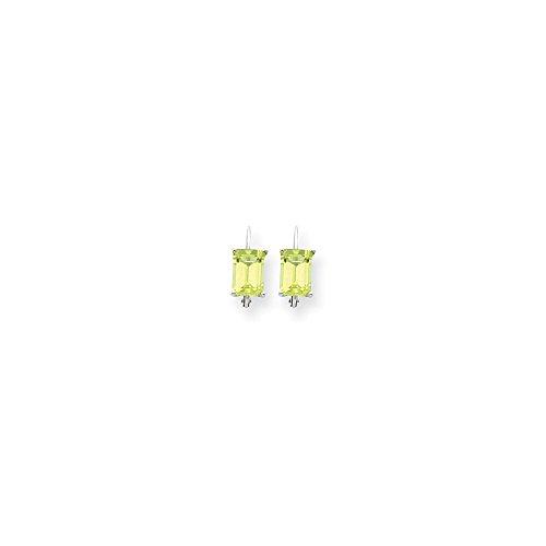 Peridot 7x5mm Cut Emerald Earring (14k White Gold 0.5IN Long 7x5mm Emerald-Cut Peridot Earrings)