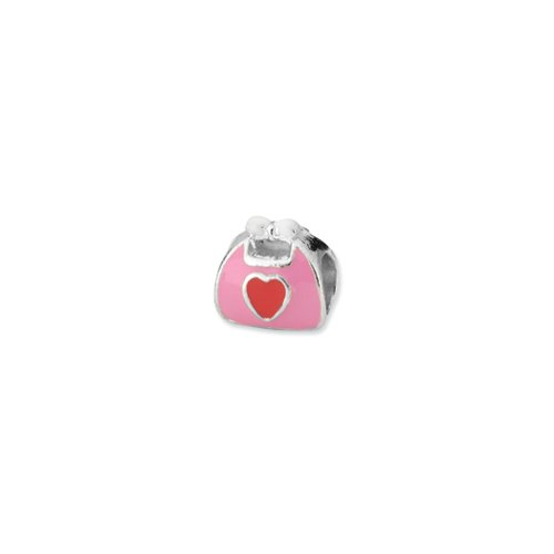Purse Enameled Pink (Sterling Silver and Pink Red Enameled Purse Bead Charm)