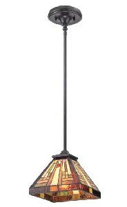 Quoizel TFST1508VB Stephen Tiffany Mini Pendant Ceiling Lighting, 1-Light, 100 Watt, Vintage Bronze (7