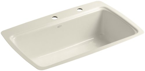 (Kohler K-5864-2-47 Cape Dory Tile-In Kitchen Sink with Two-Hole Faucet Drilling, Almond)