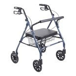 Drive Medical Go-Lite Bariatric Steel Rollator With Padded Seat And 8 Inches Casters With Loop Locks, Blue - 1 Ea (Loop Lock Blue Padded Seat)