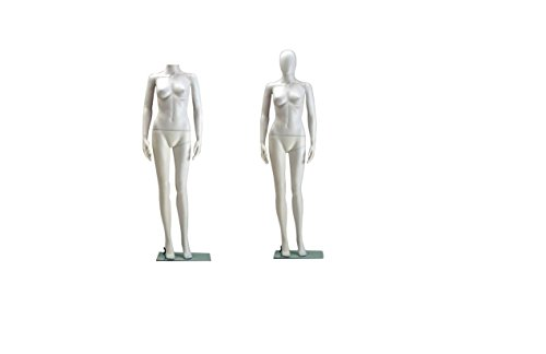 Female Full Body Durable Plastic Abstract Egg Head Mannequin With Movable Head White (EF6)