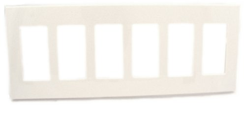 (Leviton 80326-SW 6-Gang Decora Plus Wallplate Screwless Snap-On Mount, White)