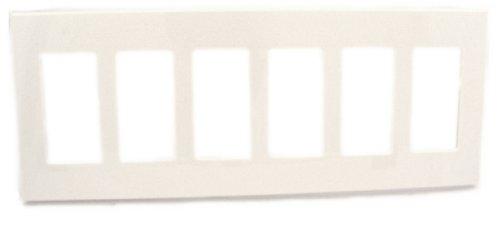 Leviton 80326-SW 6-Gang Decora Plus Wallplate Screwless Snap-On Mount, White Screwless Faceplate