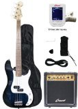 Crescent Electric Bass Guitar Starter Kit – Transparent Blue Color (Includes Amp & CrescentTM Digital E-Tuner)