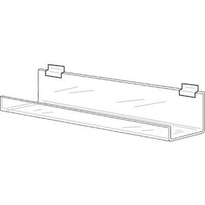 Clear Acrylic Slatwall Shelf with Lip, 48'' Long by Retail Resource