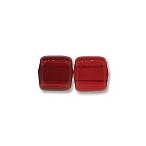 Ruby 2 Hole - Twilight Siam Ruby 6mm Square Glass Czech Two Hole Tile Bead 25 Beads