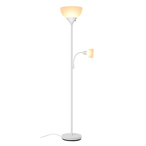 SUNLLIPE Floor Lamp 70.5 inches 9W Energy Saving Modern Sturdy Standing UplightCompatible with Wall Switch LED Reading Floor Lamp for Living Room, Bedroom (White) by sunllipe
