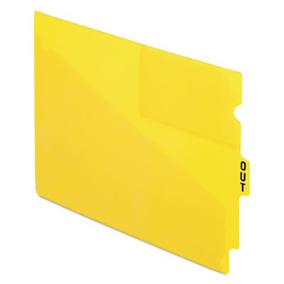 End Tab Poly Out Guides, Center ''OUT'' Tab, Letter, Yellow, 50/Box
