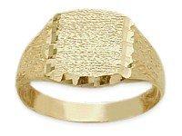 10K Yellow Gold Diamond Cut Rectangle Baby Ring (Baby Ring Rectangle Gold Yellow)