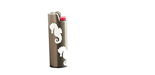 Seahorse BIC Lighter Cover Metal Blank Vinyl Design - CUSTOM MADE by Custom Cuts and Creations LLC