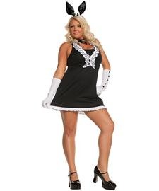 Elegant Moments Women's Plus-Size Black Tie Bunny-Plus, Black/White, 1X/2X (Playboy Costumes)