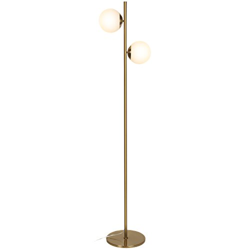 Brightech Sphere LED Floor Lamp– Contemporary Modern Frosted Glass Globe Lamp with Two Lights- Tall Pole Standing Uplight Lamp for Living Room, Den, Office, Bedroom- Bulbs Included- Antique Brass by Brightech
