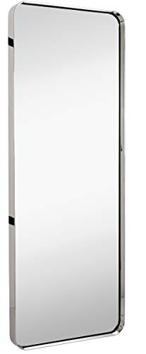 Hamilton Hills Contemporary Polished Metal Tall Silver Wall Mirror | Glass Panel Polished Silver Framed Rectangle Deep Set Design (18