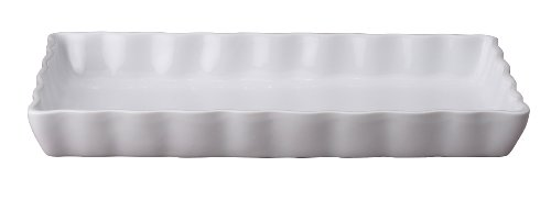 HIC Porcelain Rectangular Quiche Dish 11- by 6.5- by 1.25-inch