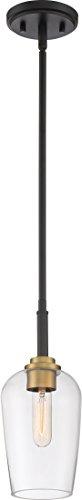 - Quoizel SGR1505EK Sagamore Mini Pendant Ceiling Lighting, 1-Light, 100 Watt, Earth Black with Brass Accents (13
