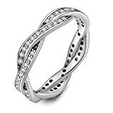 Twenty Plus Two Colors Twist Of Fate Clear CZ Women Rings for Wedding Jewelry Birthday Gift (silver-plated-base, 7)