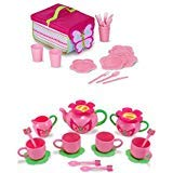 Island Time Brands Bundle Includes 2 Items - Melissa & Doug Sunny Patch Cutie Pie Butterfly Picnic Set With Basket, Plates, and Utensils and Melissa & Doug Sunny Patch Bella Butterfly Tea Set (15 pcs)