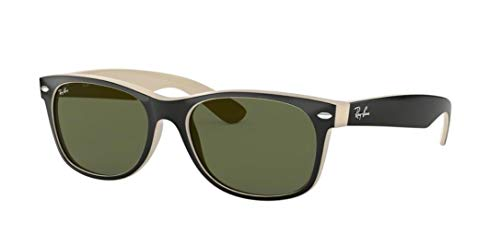 Ray-Ban RB2132 New Wayfarer Sunglasses Shiny Black/Beige (875) RB 2132 55mm
