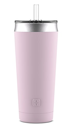 Ello Beacon Vacuum Insulated Stainless Steel Tumbler with Optional Straw, 24 oz, Cashmere Pink