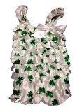 Shamrock (Clover) White & Green St Patrick's Day Baby Satin Ruffles Petti Romper (Large)