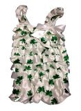 [Shamrock (Clover) White & Green St Patrick's Day Baby Satin Ruffles Petti Romper (Large)] (St Patricks Day Dance Costumes)