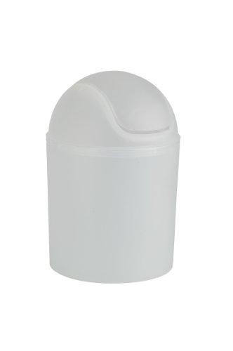 WENKO 15298100 Schwingdeckeleimer Arktis Weiß, Fassungsvermögen 1.5 L, Kunststoff - Polypropylen, 13.5 x 20.5 x 13.5 cm, Weiß