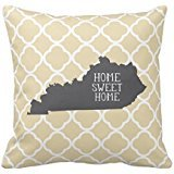 Home Sweet Home Kentucky Personalized Square Cotton Polyester Throw Pillow Case Decor Cushion Covers 18x18 Inches