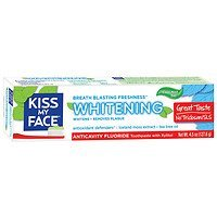 Kiss My Face Whitening Anticavity Fluoride Natural Toothpaste Gel with Xylitol, Cool Mint, 4.5 oz - 2pc