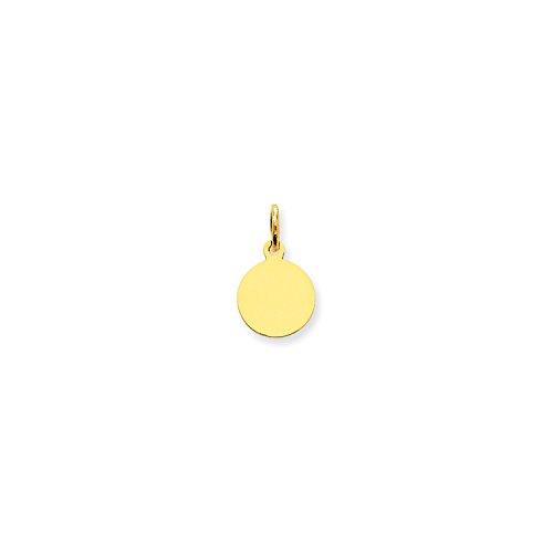 Disc Charm Engravable (Roy Rose Jewelry 14K Yellow Gold Plain .013 Gauge Circular Engravable Disc Charm 10mm width)