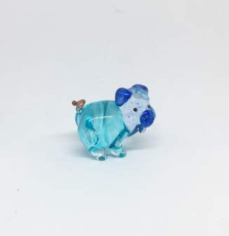 Blown Pig Glass (Studio one Handmade Farm Animal Figurine Art Glass Blown Blue Pig Figurine Collection Best Gift)