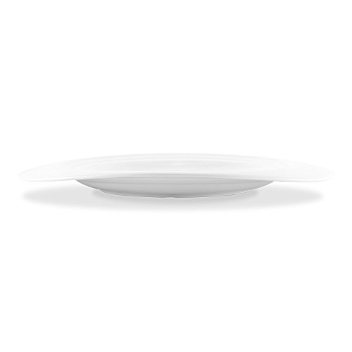 Bon Chef 1000018P Concentrics 12.85 Inch x 10.35 Inch x 0.94 Inch Oval Dinner Plate, Fine Porcelain Dinnerware, White (Pack of 12)