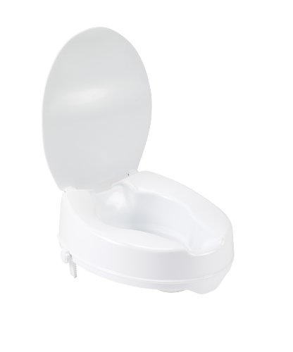 Drive Medical Raised Toilet Seat with Lock and Lid, Standard Seat, 2'' by Drive Medical (Image #1)