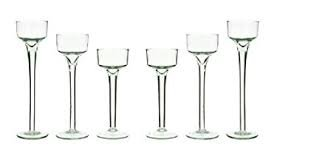 P&R Bedding Long-stem Glass Tealight Candle Holders Set 3 Sizes Per Order clear