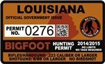 "Louisiana Bigfoot Hunting Permit 2.4"" x 4"" Decal Sticker"