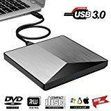KILINEO External CD/DVD Drive ,USB 3.0 DVD +/-RW Superdrive CD Burner with High Speed Data Transfer Compatible for Macbook Laptop Desktop PC Windows10 /8/7 /XP Linux Mac OS (Silver)