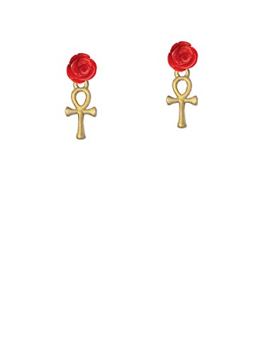 Goldtone Small Ankh - Red Rose Earrings (Ring Small Ankh)