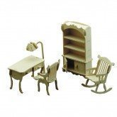 Dolls House Study Wooden Furniture kit 1/2 Scale Age 6+