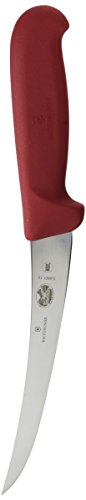Victorinox Boning Curved Semi-Stiff Blade Fibrox Pro Handle, Red, 6""