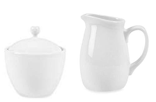 Sugar Bowl and Creamer Bundle Set, White Porcelain