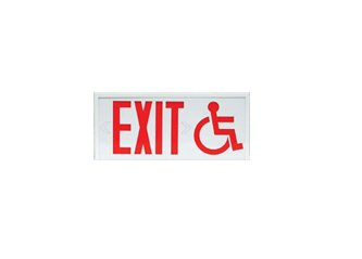 Connecticut Exit Sign with Wheel Chair Symbol - Surface Mount - With Battery