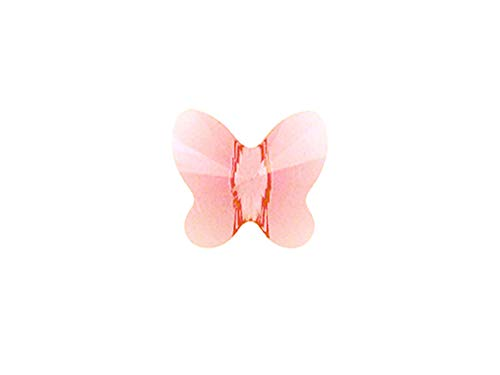 (Swarovski Crystal 5754 Faceted Butterfly Beads 8mm, Light Rose, Wholesale Packs | Pack of 24)