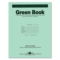 Case of 500 Exam Books, 11''x8.5'', 8 sheets/16 pages of 15# Recycled White Paper, Heavy Recycled Green Cover, stapled